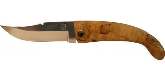Couteau de Berger Traditionnel en Bouleau et Lame Oxydable Bruni