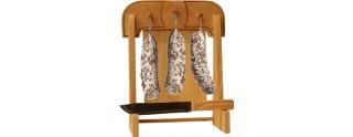 Potence à Saucisson Le Berger (28 x 38 cm) en Bois Massif avec planche à Découper & Couteau Découpe Offert (25Cm)