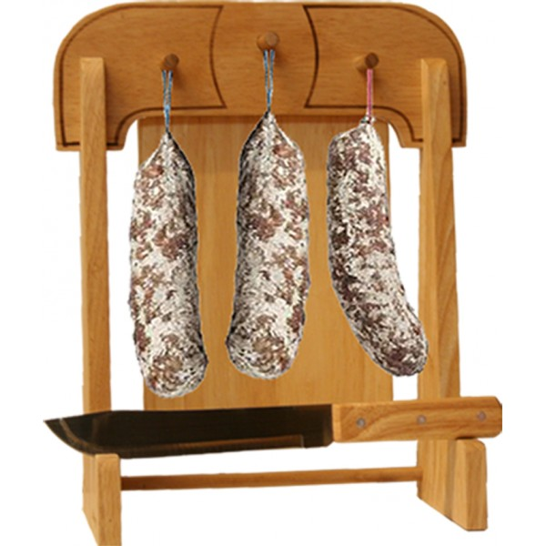 Potence saucisson le berger 28 x 38 cm en bois massif avec planche d couper couteau - Planche a decouper saucisson ...