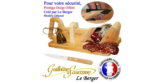 Guillotine à Saucisso Traditionnelle Le Berger SECURITE PROTEGE DOIGT couteau d'office Offert