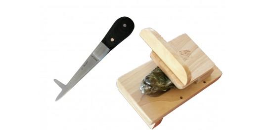 HIPPOCAMPE Couteau à Huître + SABOT en bois